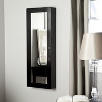 Paloma Wooden Wall Jewelry Armoire - High Gloss Black - Jewelry Armoires at Jewelry Armoire