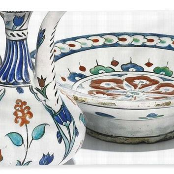 An Ottoman Iznik Style Floral Design Pottery Polychrome, By Adam Asar, No 4 - Bath Towel