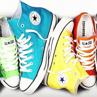 """Converse"" Fashion High tops Wine red Canvas Flats Sneakers Sport Shoes Light blue Yellow"