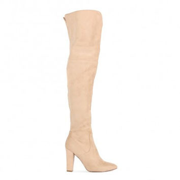 BLISS V FRONT DETAIL OVER THE KNEE BOOTS IN BEIGE FAUX SUEDE