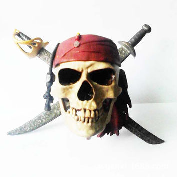 2016 Sale Rushed Unisex Halloween Halloween Props Funny Gadgets Pirates Of The Caribbean Captain Jack Logo Model Skull Ornaments