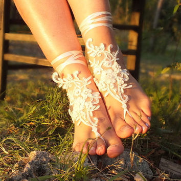 ivory Barefoot , french lace sandals, wedding anklet, Beach wedding barefoot sandals, embroidered sandals.