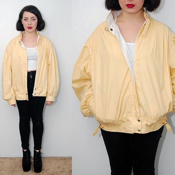 vintage MEMBERS ONLY jacket (XL) oversize 80s pastel yellow 13 14 cafe racer women slouchy baggy pale minimal rockabilly punk pinup bomber