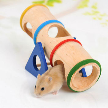 Colorful Wooden Hamster Seesaw Tube Tunnel Cage House Rainbow Barrel