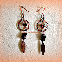 Dreamcatcher Earrings with Red Tigereye, Native American, Gypsy, Tribal, Bohemian, Hippie, Ready to Ship, Direct Checkout