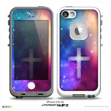 The Neon Galaxy Simple Cross V3 Skin for the iPhone 5/5s-4/4s- or 5c LifeProof Case