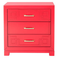 Raina 3-Drawer Greek Key Night Stand