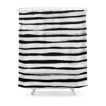 Society6 Black And White Stripes II Shower Curtains