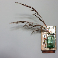 rustic wall vase wired hanging aqua bottle african trade beads