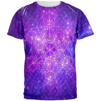 Sacred Geometry Metatron Cube Map of Creation All Over Mens T Shirt