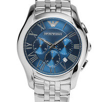 Emporio Armani Mens Stainless Steel Chronograph Watch with Link Bracelet