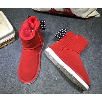 """""""UGG"""" Fashion Winter Women Bowknot Flat Warm Snow Ankle Boots I"""