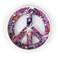 Peace Sign Wall Clock Purple Fluid Art, Wall Clock, Art Clock, Wall Clock, Abstract Art Clock, Peace Sign Clock, Peace Sign, Wall Art, Gift