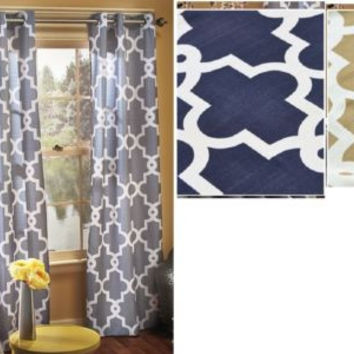 Grommet Top Curtain Panel Pair Gray Navy Blue Taupe Neutral Geometric Pattern