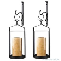 2 Hanging Hurricane Glass Wall Sconces