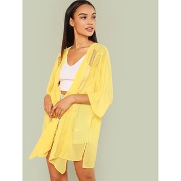 Women's Canary Yellow Floral Lace Insert Open Front Sheer Kimono
