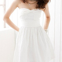 White Strapless Criss-Cross Jaquard Dress