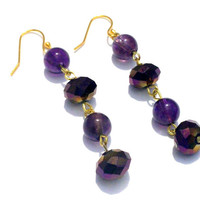Beautiful Handmade Jewelry 14K Gold Plated Purple Rain Drop Dangles