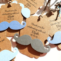33 Pearlescent Colors - Custom Made Just for You - 3D Metallic Mustache Gift Tags - Wedding Favors, Baby Shower Favors, Party Favors