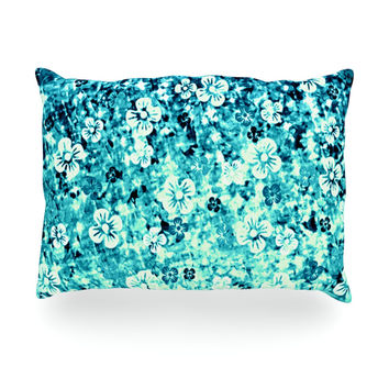 "Ebi Emporium ""Flower Power in Blue"" Teal Aqua Oblong Pillow"