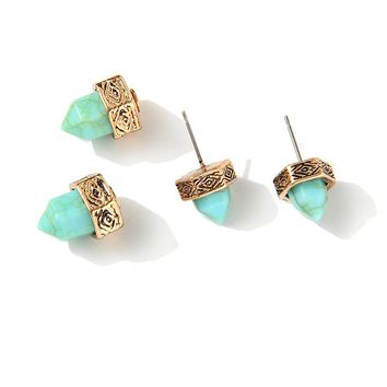 Prism Hexagon Earrings Mint and Gold