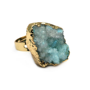 18K Gold Plated Oceanic Druzy Ring