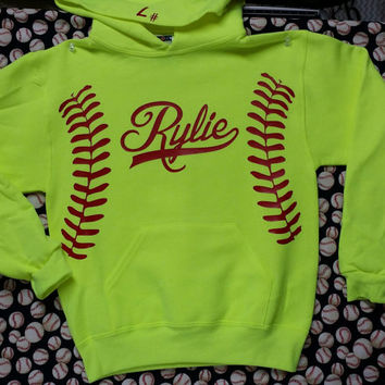 ADULT Monogrammed or Name Softball Hoodie unisex withGLITTER vinyl laces and monogram or name