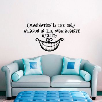 Alice in Wonderland Wall Decal Quote Imagination is the Only Weapon Vinyl Sticker House Home Bedroom Window Decoration WW-94