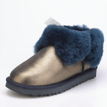 UGG: Fashion Women Men Winter Four-Leaf Fur Snow Boots Warm Anti-Skid Short Boots Navy Blue