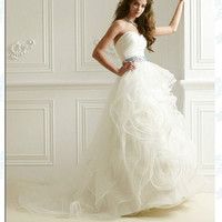 sexy white / ivory bridal wedding dress tulle sweetheart sleeveless strapless backless evening dress prom dress