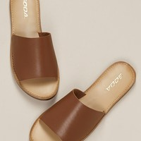 Soft Faux Leather Open Toe Slip On Flat Sandals