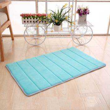 1 PC Memory Foam Bath Mats Horizontal Stripes Rug Non-slip Bath Mats Coral Fleece Mat Doormat Carpet Bathroom Supply