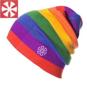 SNSUSK B-3 Rainbow color Knitted gorro beanie women men winter hat for women cap women 2016 fashion brand beanie Cotton