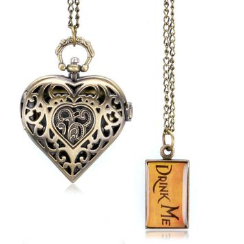 Heart Shaped Hollow Alice in Wonderland Drink Men Tag Pocket Watch Women Ladies Luxury Pendant Gift Bronze Fob Watches