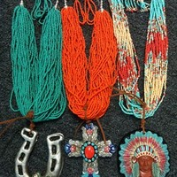 Large clay necklace sets from PeaceLove&Jewels