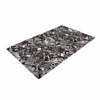 "Shirlei Patricia Muniz ""Secret Dream"" Black Abstract Woven Area Rug"