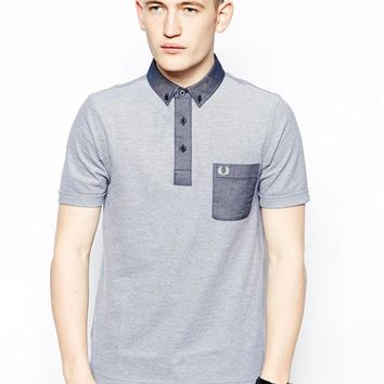 Fred Perry Polo Shirt in Tonic with Contrast Pocket