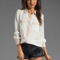Haute Hippie Colorblocked Blouse in Swan/Buff from REVOLVEclothing.com