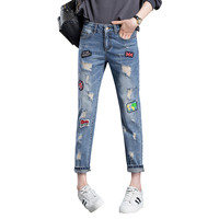 2017 Fashion Ripped Jeans Woman Holes Denim Pants Embroidered Patches Beggar Jeans Pants For Women Loose Female Jeans Trousers