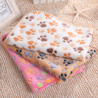 2016 New 3 Size Cute Floral Pet Warm Paw Print Dog Puppy Fleece Soft Blanket Beds Mat