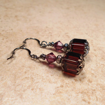 Wine Dark Purple Beaded Earrings Goth Victorian Vintage Style Gunmetal Womens Formal Jewelry Made with Swarovski Crystals and Glass Cubes