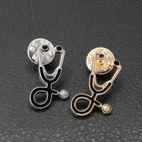 Trendy Enamel Pin Badge Stethoscope Brooch Pin Medical Jewelry For Doctors Nurse Physicians Student Shirt Graduation Gift AT_94_13