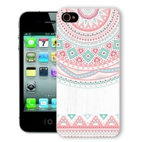 ChiChiC Iphone Case, i phone 4 4g 4s case,Iphone4 iphone4g iphone4s covers, plastic cases back cover skin protector,geometric retro ethnic pink white wood grain