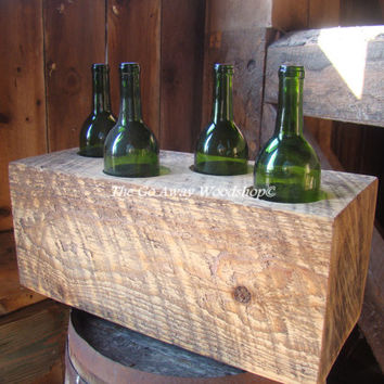 Wood beam wine bottle storage, 4 bottles