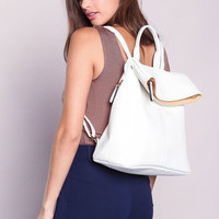 WHITE FOLD OVER BACKPACK