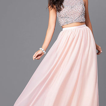 Blush Pink Two-Piece Prom Dress with Beaded Bodice