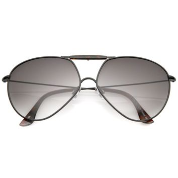 Modern Oversize Geometric Tear Drop Metal Aviator Sunglasses A734