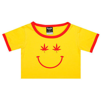 Stoned Smily Ringer Tee- Yellow