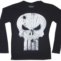 Marvel Comics Punisher Broken Skull Logo Long Sleeve Thermal Shirt