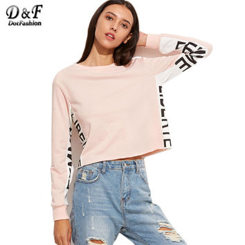 Dotfashion Fall 2016 Womans Clothes High Quality Sweatshirt Women 2016 Pink Contrast Letter Print Panel Crop Sweatshirt